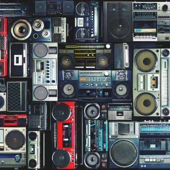 Vintage,Wall,Full,Of,Radio,Boombox,Of,The,80s